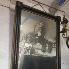 Antigüedades: MAGNÍFICO ESPEJO ESTILO IMPERIO EBONIZADO CON ADORNOS EN DORADO.. Lote 42370825
