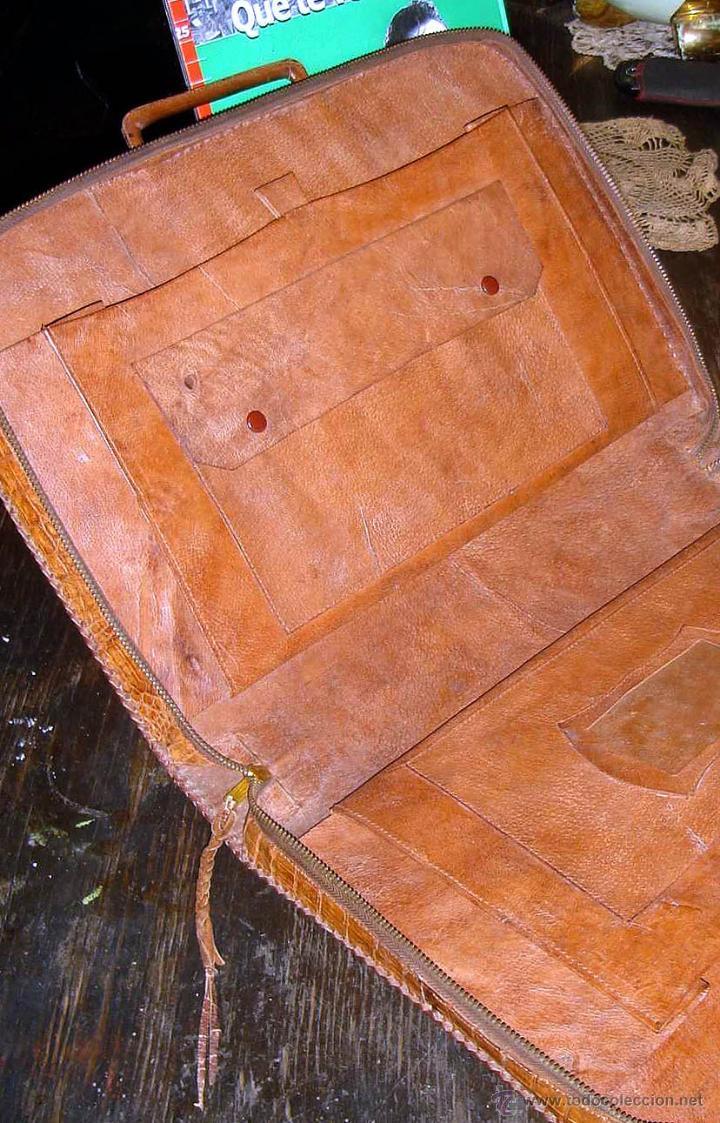 Antigüedades: ANTIGUO PORTAFOLIOS 100% CUERO DE COCODRILO EN IMPECABLE ESTADO - Foto 3 - 42360357