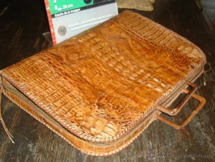 Antigüedades: ANTIGUO PORTAFOLIOS 100% CUERO DE COCODRILO EN IMPECABLE ESTADO - Foto 4 - 42360357