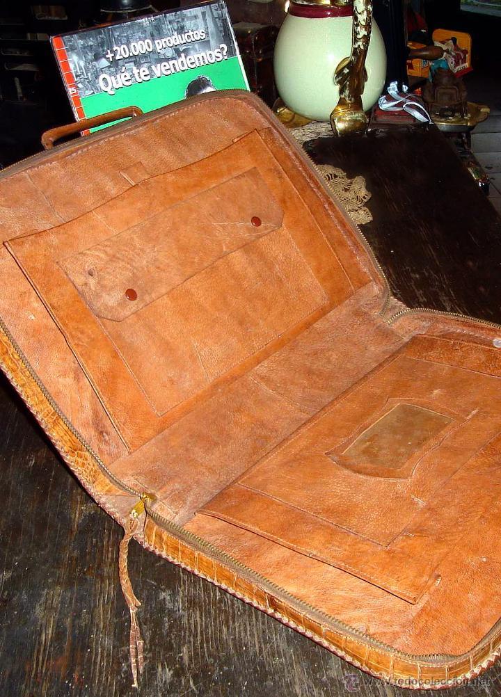 Antigüedades: ANTIGUO PORTAFOLIOS 100% CUERO DE COCODRILO EN IMPECABLE ESTADO - Foto 5 - 42360357