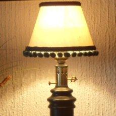Antigüedades: LAMPARA DE MESA, DE METAL COLOR VERDE. Lote 42407246