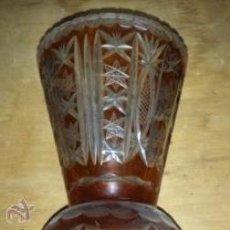 Antigüedades: BUCARO DE CRISTAL TALLADO DE BOHEMIA EN COLOR AMBAR. Lote 42420154