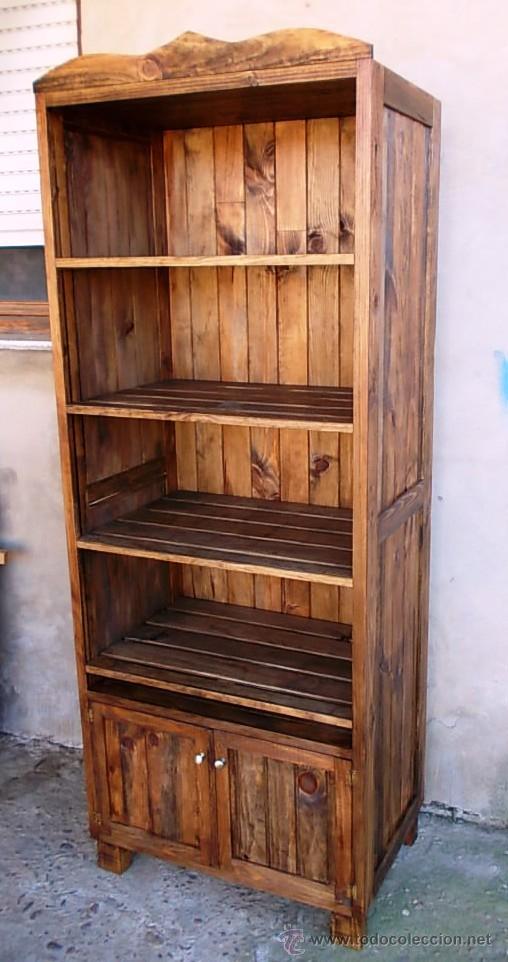 Estantera de madera estantera madera de pino x x cm by for Mueble rustico ikea