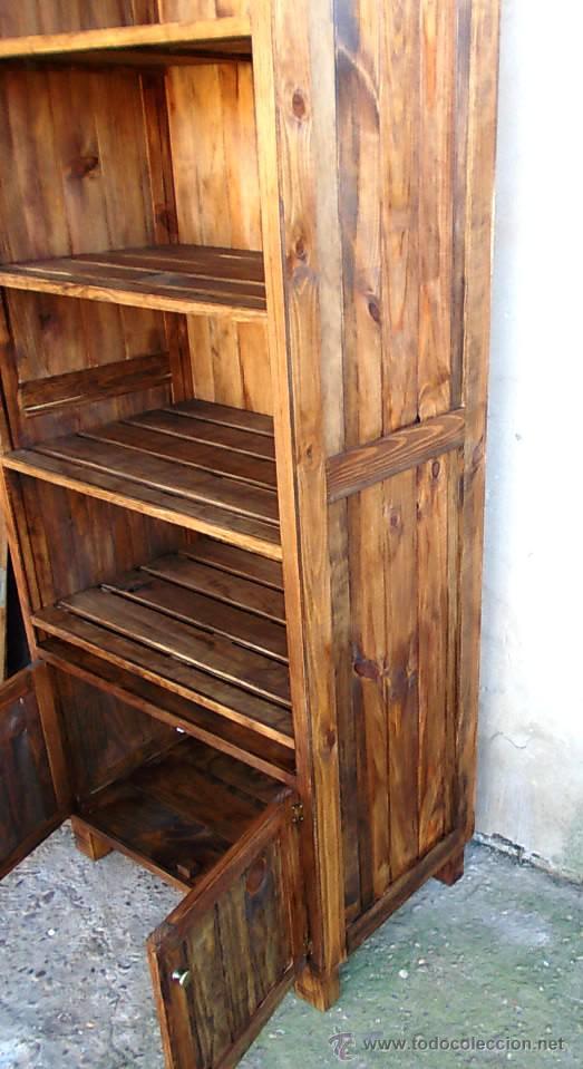 Mueble panadero de madera rustico estanteria c comprar for Mueble auxiliar rustico