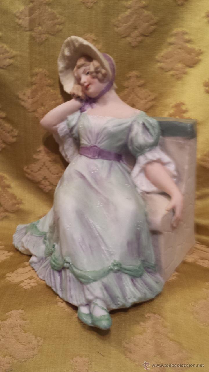 FIGURA DAMA GALANTE (Antigüedades - Hogar y Decoración - Figuras Antiguas)