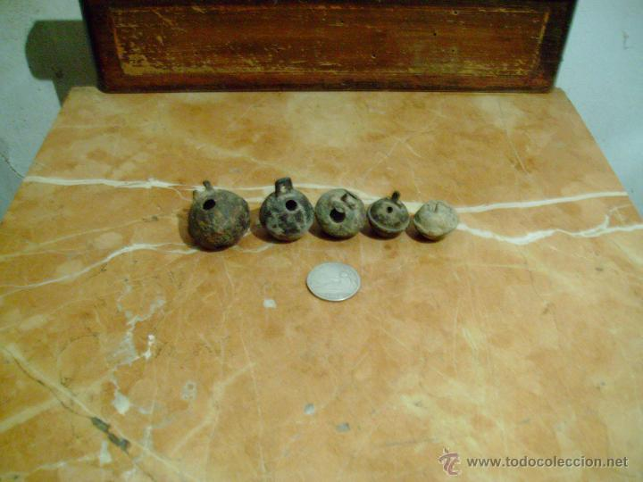 Antigüedades: lote 5 cascabeles antiguos. - Foto 2 - 42443737