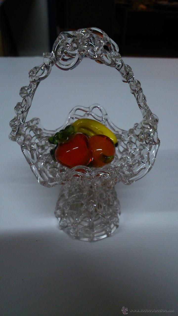 Cesta de frutas de murano en miniatura comprar murano for Frutas de cristal