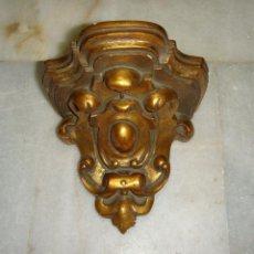 Antigüedades: MÉNSULA, REPISA O PEANA ANTIGUA. MADERA Y PAN DE ORO.. Lote 42474849