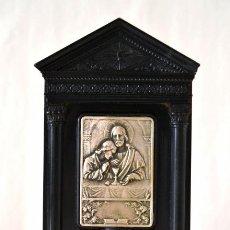 Antigüedades: PEQUEÑO ALTAR CON PLACA PLATEADA * IMAGEN JESUS * MARMOLINA NEGRA. Lote 42480676