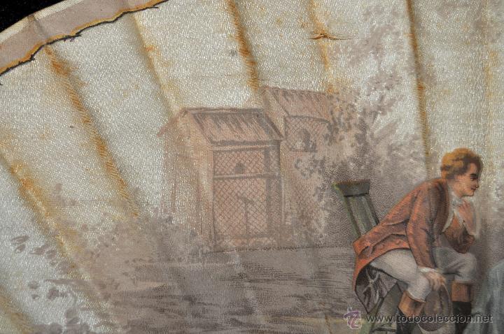 Antigüedades: ABANICO DEL SIGLO XIX CON PAÍS PINTADO SOBRE SEDA Y VARILLAJE EN HUESO - Foto 4 - 42481174