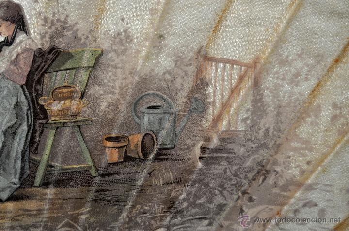 Antigüedades: ABANICO DEL SIGLO XIX CON PAÍS PINTADO SOBRE SEDA Y VARILLAJE EN HUESO - Foto 6 - 42481174