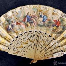 Antigüedades: ABANICO DE FINALES DEL SIGLO XIX CON PAÍS DE PAPEL LITOGRAFIADO DOBLE CARA Y VARILLAJE EN HUESO. Lote 42482127