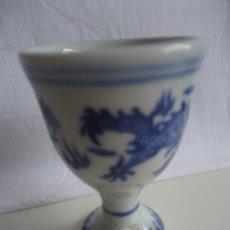 Antigüedades: HUEVERA CHINA CON DRAGONES PORCELANA BLANCA Y AZUL CHINA. Lote 42497473