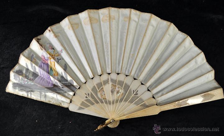 ANTIGUO ABANICO DE PRINC.DE FINALES DEL SIGLO XIX CON PAIS PINTADO SOBRE SEDA Y VARILLAJE EN HUESO (Antigüedades - Moda - Abanicos Antiguos)