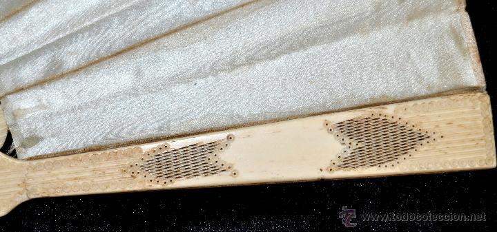 Antigüedades: ANTIGUO ABANICO DE PRINC.DE FINALES DEL SIGLO XIX CON PAIS PINTADO SOBRE SEDA Y VARILLAJE EN HUESO - Foto 4 - 42507434