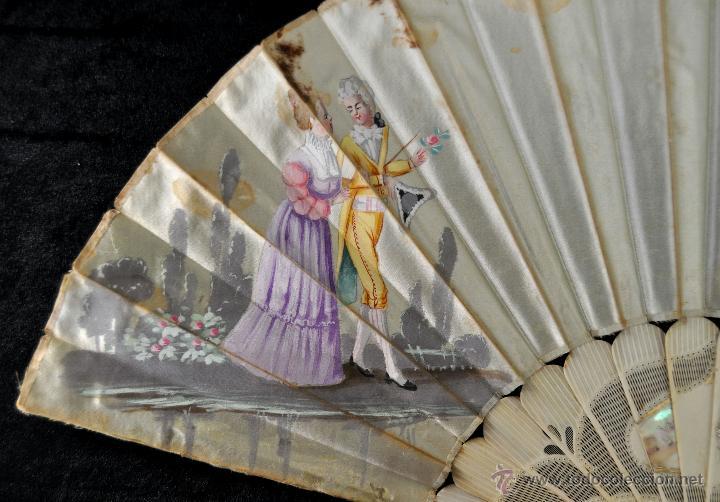 Antigüedades: ANTIGUO ABANICO DE PRINC.DE FINALES DEL SIGLO XIX CON PAIS PINTADO SOBRE SEDA Y VARILLAJE EN HUESO - Foto 5 - 42507434