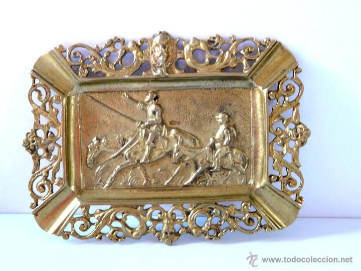 Antigüedades: ANTIGUO CENICERO DE BRONCE MACIZO CON RELIEVE DON QUJOTE Y SANCHO PANZA - Foto 6 - 42509663