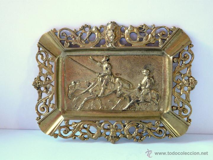 Antigüedades: ANTIGUO CENICERO DE BRONCE MACIZO CON RELIEVE DON QUJOTE Y SANCHO PANZA - Foto 8 - 42509663
