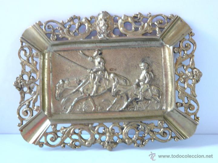 Antigüedades: ANTIGUO CENICERO DE BRONCE MACIZO CON RELIEVE DON QUJOTE Y SANCHO PANZA - Foto 9 - 42509663