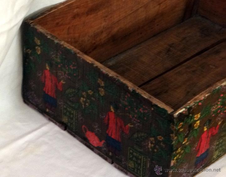 Antigüedades: antigua caja decorada al estilo antiguo, recolección del té verde. - Foto 4 - 42514470