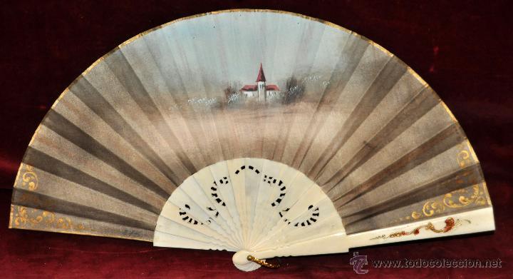 Antigüedades: ANTIGUO ABANICO DE PRINCIPIOS DEL S. XX CON PAIS PINTADO SOBRE TELA. FIRMADO M. LLORENS - Foto 7 - 42528089