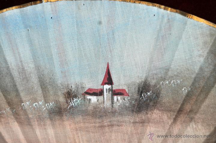 Antigüedades: ANTIGUO ABANICO DE PRINCIPIOS DEL S. XX CON PAIS PINTADO SOBRE TELA. FIRMADO M. LLORENS - Foto 8 - 42528089