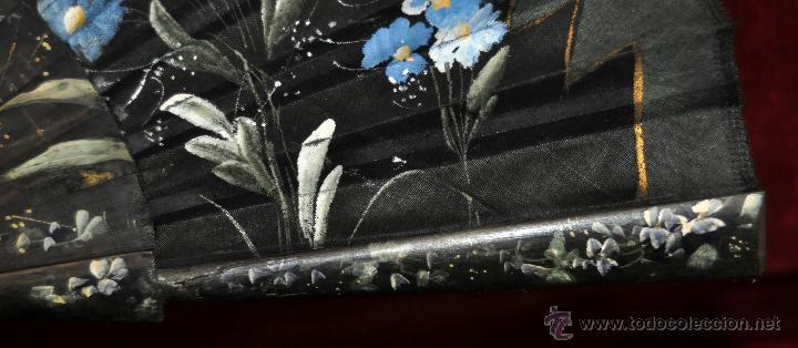Antigüedades: ANTIGUO ABANICO DE PRINCIPIOS DEL S. XX PAIS PINTADO SOBRE TUL Y VARILLAJE CALADO Y PINTADO - Foto 7 - 42528397
