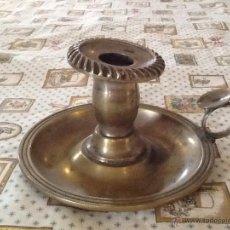 Antigüedades: PORTAVELAS ANTIGUO DE ALPACA. Lote 42528663