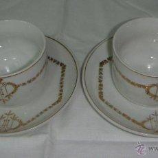 Antigüedades: PRECIOSO JUEGO DE CAFÉ MODERNISTA. 2 TAZAS + 2 PLATOS. PORCELANA. CON DORADOS.. Lote 42540465