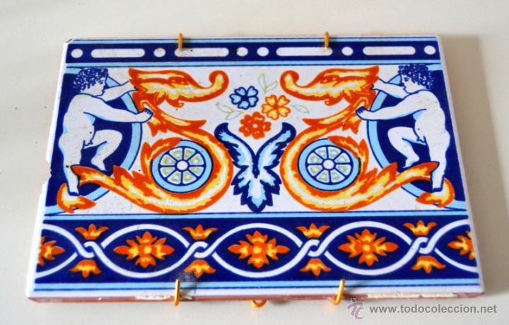 ANTIGUO AZULEJO PARA COLGAR (Antigüedades - Porcelanas y Cerámicas - Azulejos)
