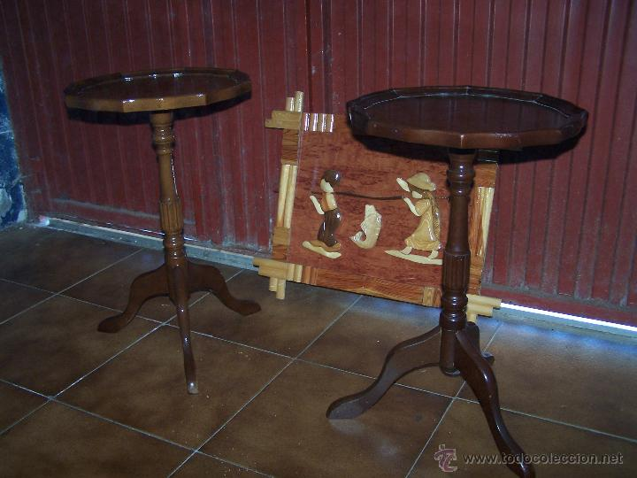 DOS MESAS DE TE INGLESAS ANTIGUAS MUY BIEN CONSERVADAS (Antigüedades - Muebles Antiguos - Mesas Antiguas)