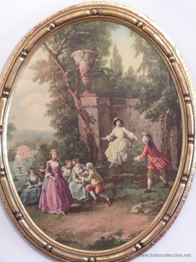 magnifico cuadro ovalado, pintado el marco con - Comprar Marcos ...