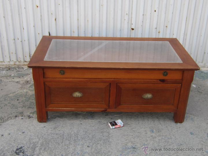 Mesa baja en madera con 3 cajones y cristal de comprar mesas antiguas en todocoleccion 42563546 - Mesa baja cristal ...