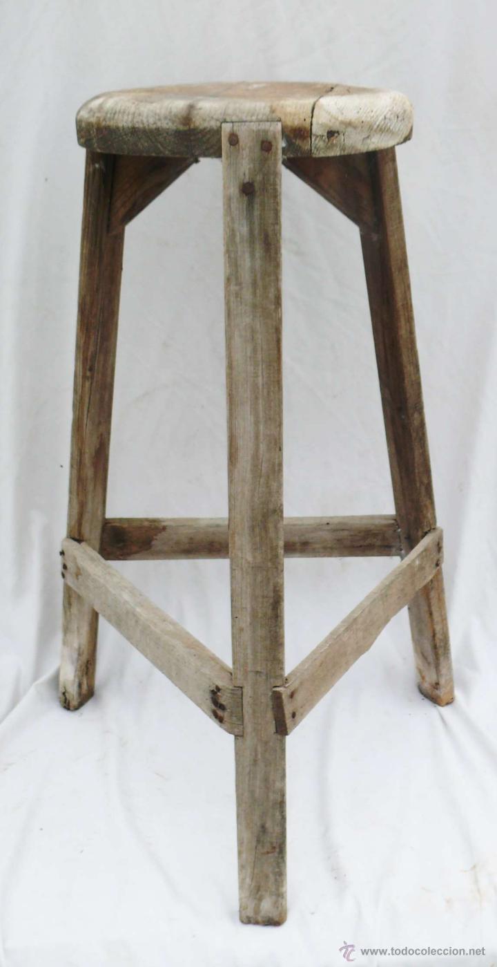Fantanstica silla taburete antigua industrial e comprar for Bar de madera vintage