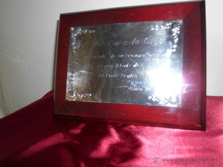 MARCO DE MADERA LACADO CON DEDICATORIA EN PLATA DE LEY (Antigüedades - Platería - Plata de Ley Antigua)