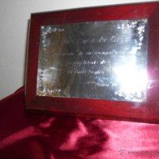 Antigüedades: MARCO DE MADERA LACADO CON DEDICATORIA EN PLATA DE LEY. Lote 42566426