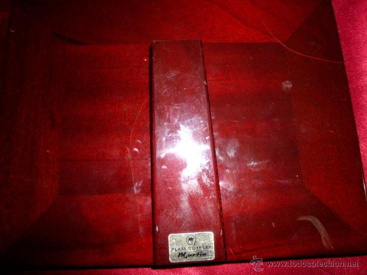 Antigüedades: Marco de madera lacado con dedicatoria en plata de ley - Foto 4 - 42566426
