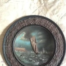 Antigüedades: ANTIGUO GRAN PLATO TERRACOTA S. XIX RELIEVE. MARINA. . Lote 42593448