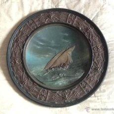 Antigüedades: ANTIGUO GRAN PLATO TERRACOTA S. XIX RELIEVE. MARINA. . Lote 42593500