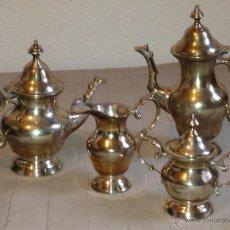 Antigüedades: JUEGO DE CAFÉ Y TÉ EN ALPACA PLATEADA. Lote 42598608