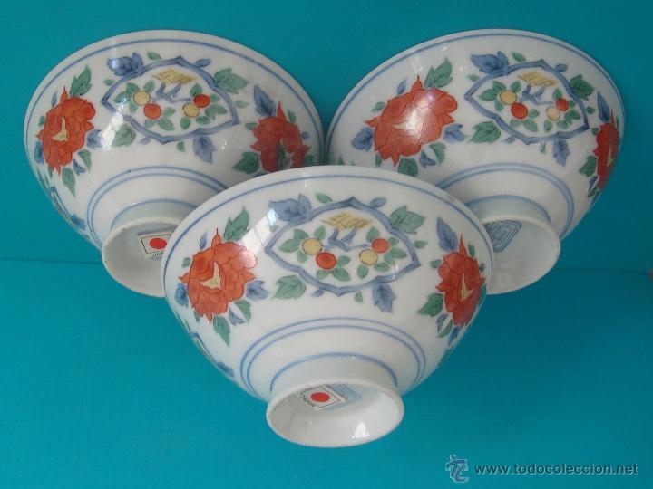 3 CUENCOS DE PORCELANA JAPONESA SELLOS EN LA BASE (Antigüedades - Porcelana y Cerámica - Japón)