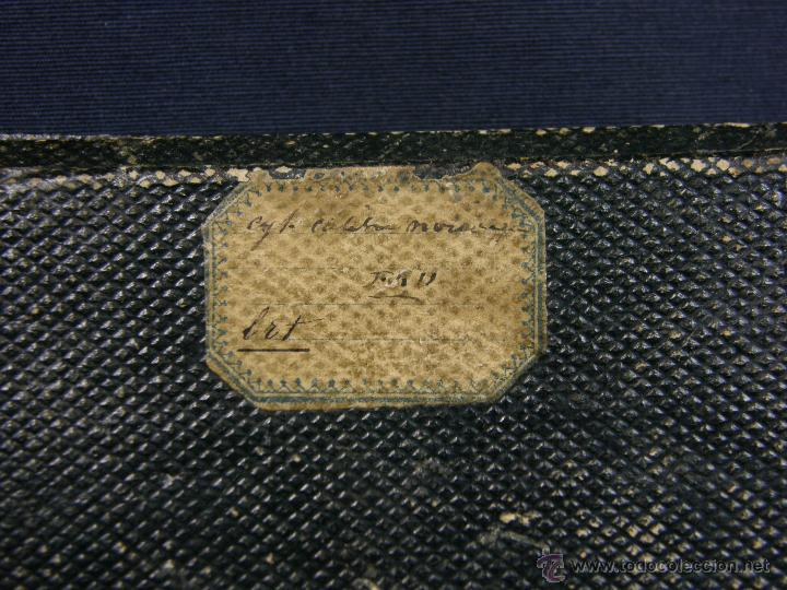 Antigüedades: caja de piel para relojes CYLINDRE 7993 impreso y dorado en piel tapa 2 compartimentos interiores - Foto 2 - 42643702