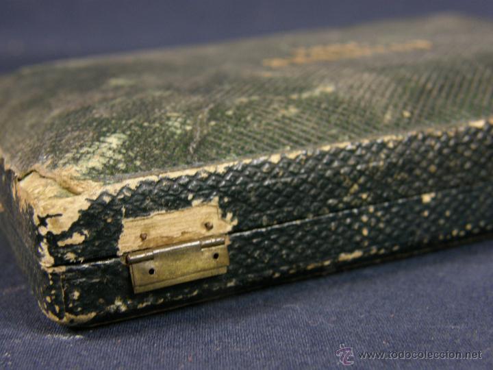 Antigüedades: caja de piel para relojes CYLINDRE 7993 impreso y dorado en piel tapa 2 compartimentos interiores - Foto 3 - 42643702