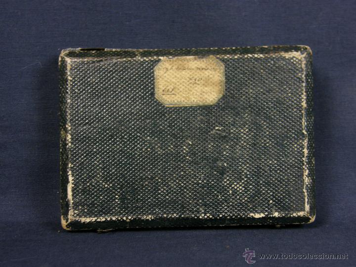 Antigüedades: caja de piel para relojes CYLINDRE 7993 impreso y dorado en piel tapa 2 compartimentos interiores - Foto 5 - 42643702