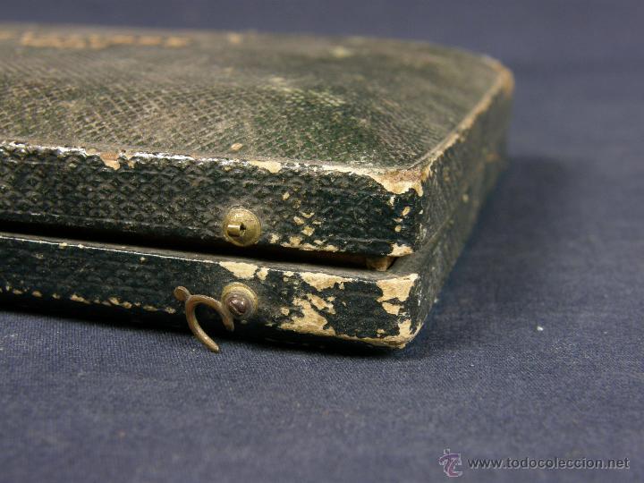 Antigüedades: caja de piel para relojes CYLINDRE 7993 impreso y dorado en piel tapa 2 compartimentos interiores - Foto 14 - 42643702