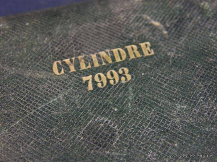 Antigüedades: caja de piel para relojes CYLINDRE 7993 impreso y dorado en piel tapa 2 compartimentos interiores - Foto 15 - 42643702
