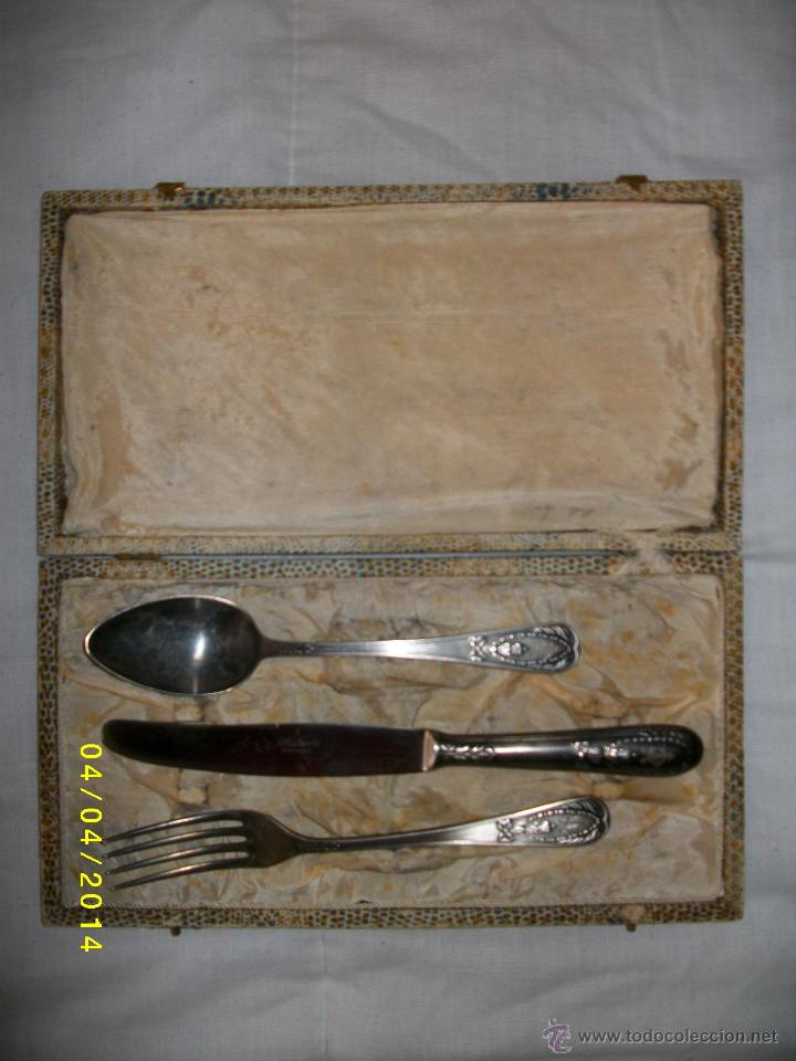 Juego de tres cubiertos de plata con contrastes comprar for Cubiertos de plata precio