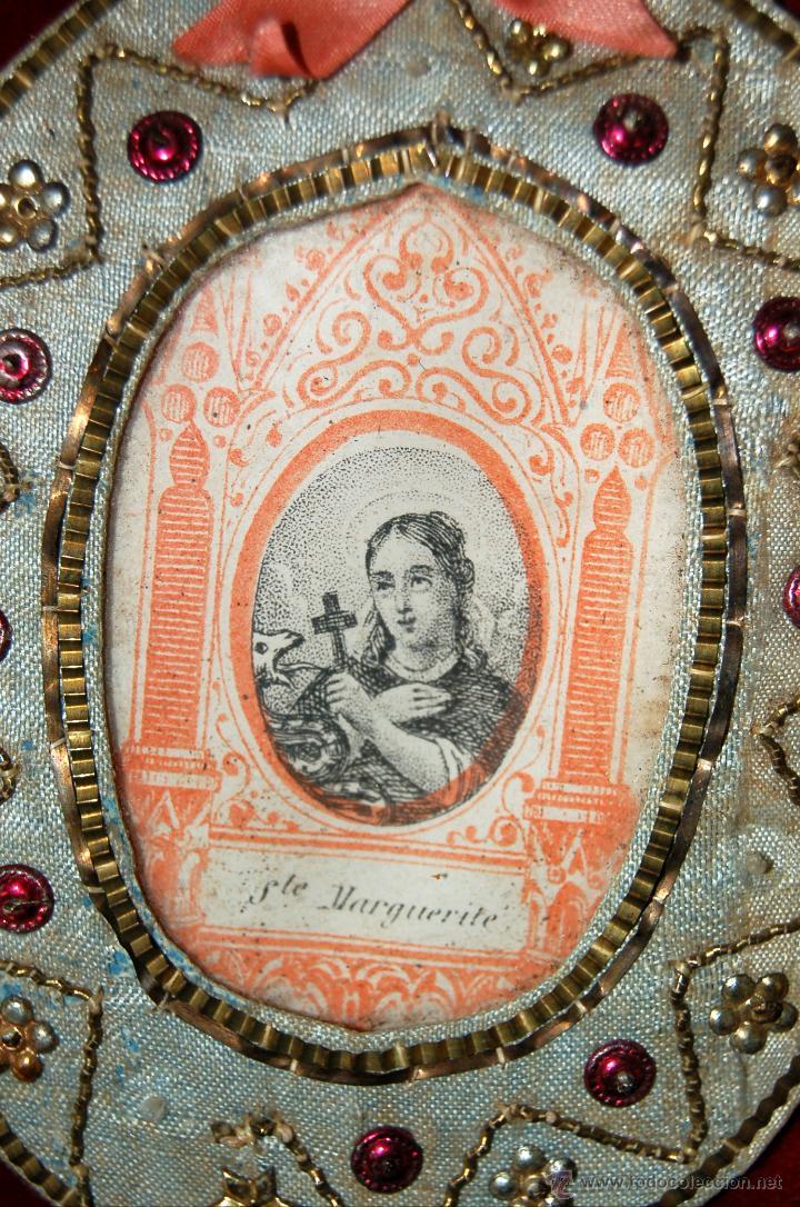 Antigüedades: ESCAPULARIO TIPO RELICARIO CON IMAGEN DE SANTA MARGARITA. CIRCA 1880 - Foto 2 - 120763491