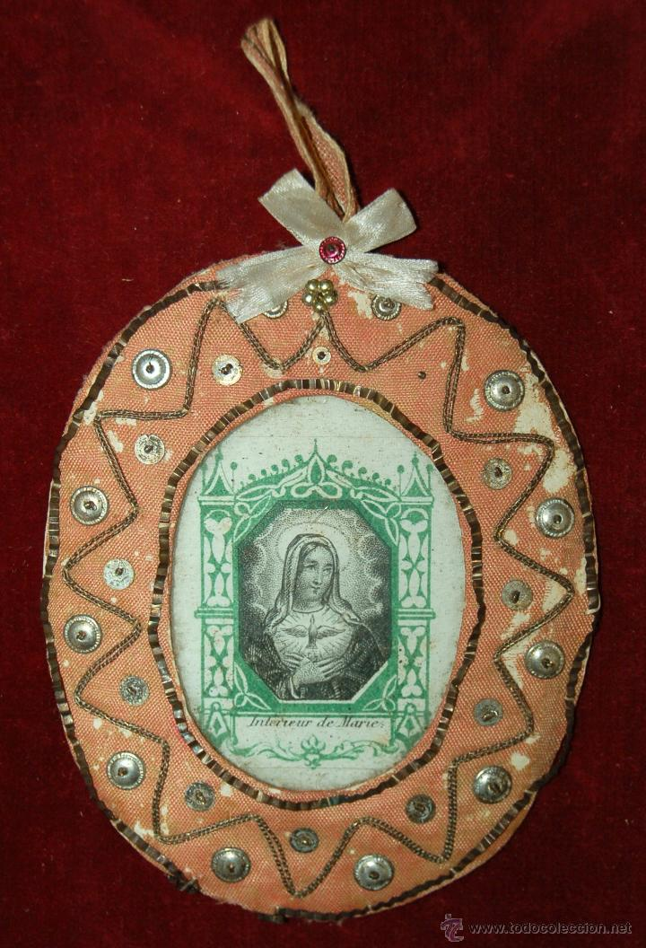 ESCAPULARIO TIPO RELICARIO CON IMÁGEN DE SANTA MARÍA DEL ESPÍRITU SANTO. CIRCA 1890 (Antigüedades - Religiosas - Relicarios y Custodias)