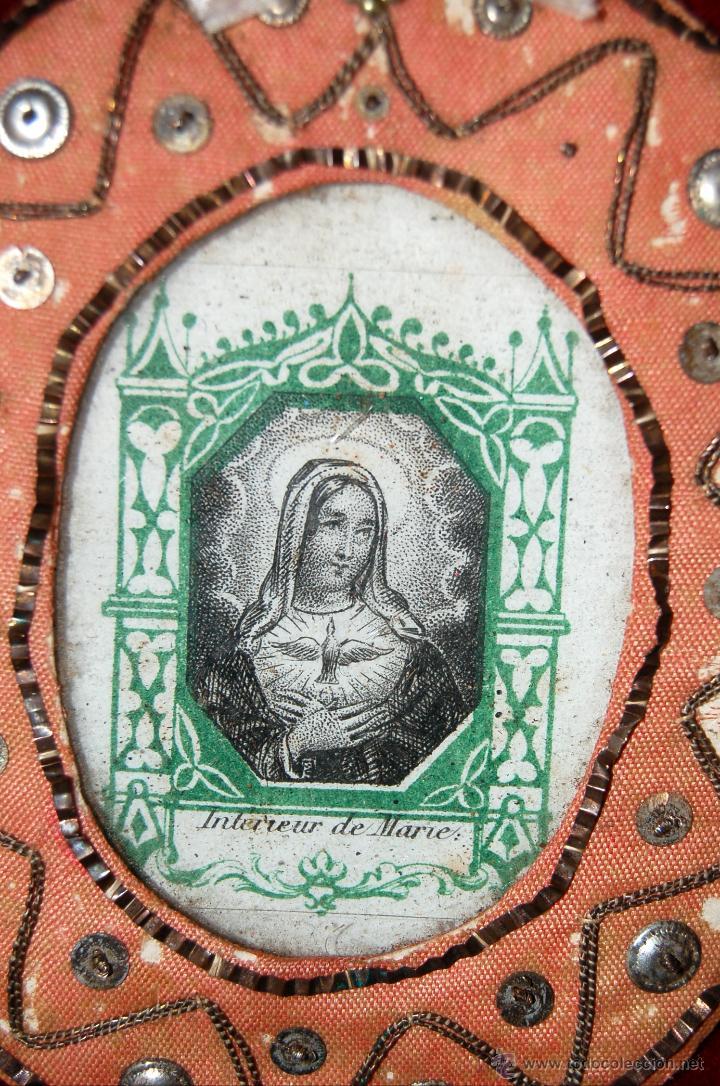 Antigüedades: ESCAPULARIO TIPO RELICARIO CON IMÁGEN DE SANTA MARÍA DEL ESPÍRITU SANTO. CIRCA 1890 - Foto 2 - 42669296